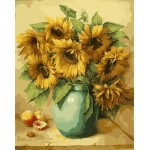 Vintage Sunflowers In Pottery Urn Fruits
