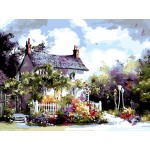 Country Villa With Flowers Tapestry Printed