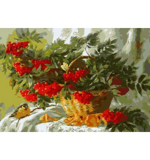 Still Life Red Wolfberry In Basket Needlepoint Canvas