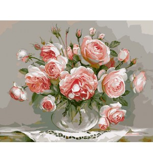 Beautiful Pink Roses In Urn Still Life Needlepoint Canvas