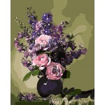 Pink Roses Purple Wasteria In Urn