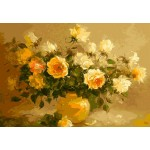 Oil Painting Style Yellow Roses In Urn
