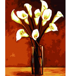 Calla In Glass Urn Hand Painted Design Needlepoint Canvas