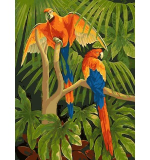Pair Of Parrot On Tree Tapestry Printed  Needlepoint Canvas
