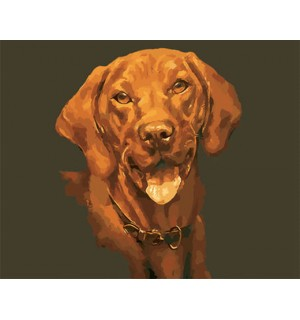 Portrait of a Brown Doggie Hand Painted Design Needlepoint Canvas