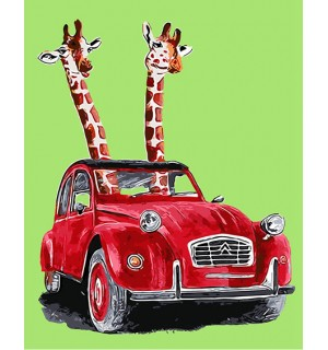 Giraffes In Red Vintage Car Hand Painted Design Needlepoint Canvas