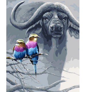 Kingfishers & Bison Hand Painted Design Needlepoint Canvas