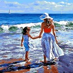 Young Lady With Her Daughter On The Beach