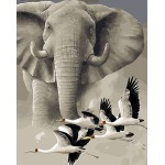Elephant & Red-crowned Crane