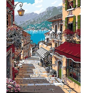 A Beautiful Town With Mountain & Lake Needlepoint Canvas