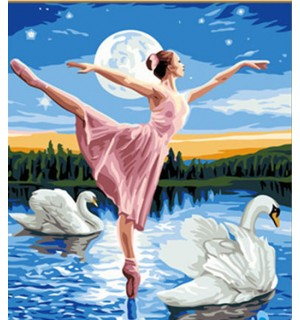 Swan Lake Ballet Hand Painted Design Needlepoint Canvas