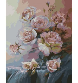 Beautiful Pink Roses With Buds Needlepoint Canvas
