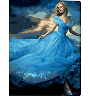 A Girl In Beautiful Blue Dress Needlepoint Canvas