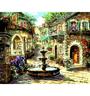Hand Painted Design Beautiful Printed Needlepoint Canvas Fountain Street