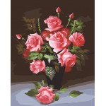 Pink Roses With Buds In Black Vase