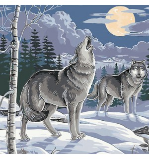 A Pair of Wolves In The Evening Needlepoint Canvas