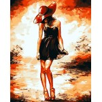 A Girl In Red Hat & Black Dress