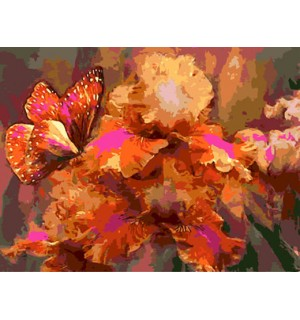 Butterfly on Flowers Hand Painted Design Printed Needlepoint Canvas