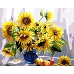 Blooming sunflower in Blue Glass Urn