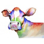 Cute Colorful Cow Hand Painted Design