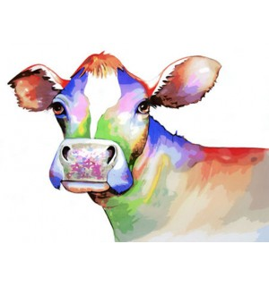Cute Colorful Cow Hand Painted Design Needlepoint Canvas