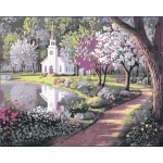 A Beautiful White Church In The Park