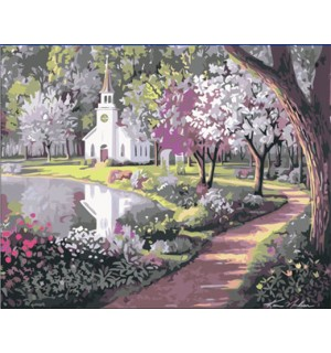 A Beautiful White Church In The Park Needlepoint Canvas