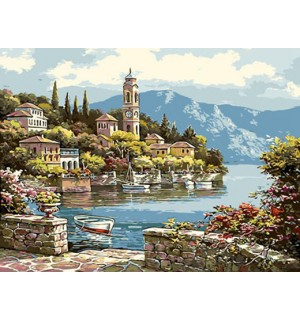 Beautiful Water Town Beside Lade Needlepoint Canvas