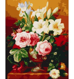 Beautiful Flowers in Urn Needlepoint Canvas