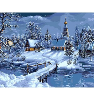 Beautiful Winter Printed Tapestry Needlepoint Canvas A Fine Snow Day