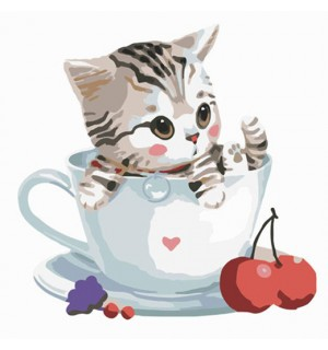 So Sweet Little Kitty In Cup Needlepoint Canvas For Beginners