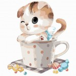 Little Kitty In The Cup With Candy