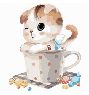 Little Kitty In The Cup With Candy Needlepoint Canvas For Beginners