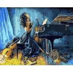 Girl In Blue Playing Piano
