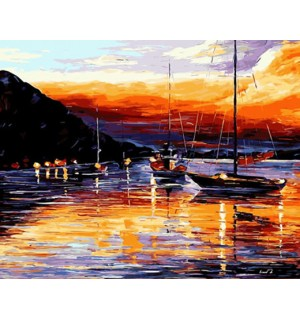 Peaceful Harbour At Dusk Needlepoint Canvas