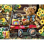 Little Teddy On Cart With Sunflower