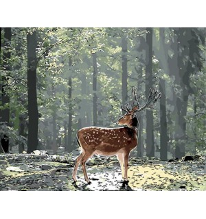 Single Deer In Forest Needlepoint Canvas