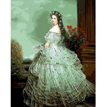 Portrait of Victorian Young Lady In Gorgeous Dress