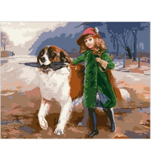Little Girl With Dog Gobelin Tapestry Needlepoint Canvas