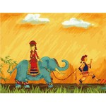 Tribal Design Young Lover With Elephant Printed