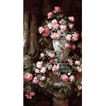 Pink Roses In Urn Hand Painted Design Printed