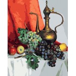 Still Life Grapes & Pot Hand Painted Design