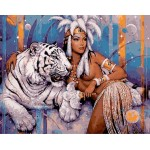 Cleopatra & White Tiger Hand Painted Design