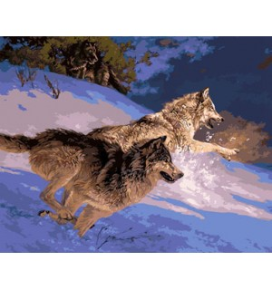 Wolves At A Winter Night Hand Painted Design Needlepoint Canvas