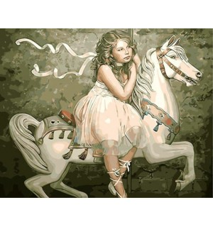 A Girl On White Horse Hand Painted Design Needlepoint Canvas