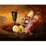 Vintage Artistic Still Life Fruits Copper Cup