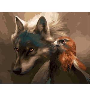 Wolf And Eagle Hand Painted Design Needlepoint Canvas