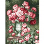 Beautiful Full Blooming Roses In Urn