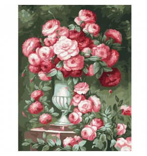 Beautiful Full Blooming Roses In Urn Needlepoint Canvas
