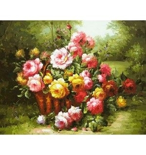 Roses In Basket Beautiful Hand Painted Design Needlepoint Canvas